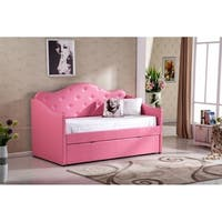 Best Quality Furniture Pink Faux Leather Tufted Daybed with Twin Trundle Bed