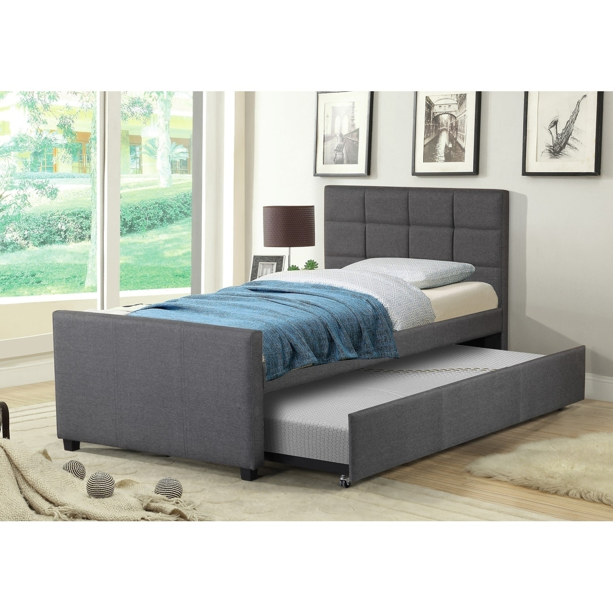 Picture of: Best Quality Furniture Twin Upholstered Panel Bed With Twin Trundle Bed On Sale Overstock 17983194 Fabric Grey