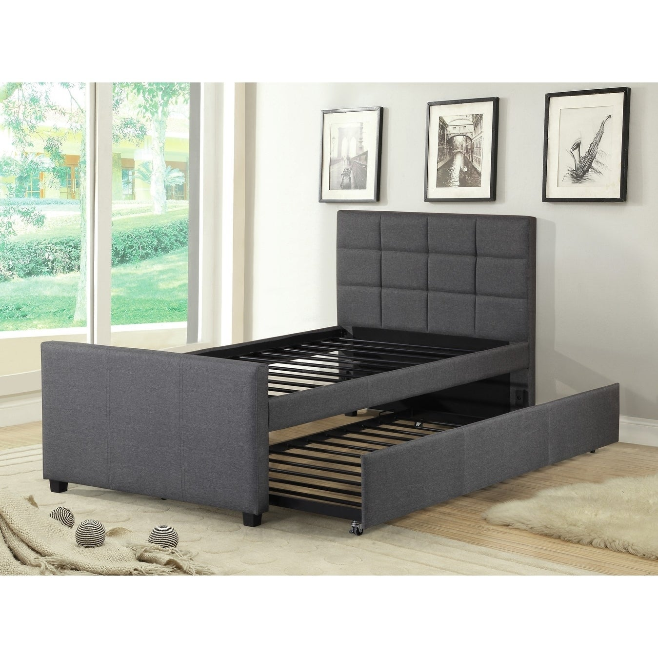 brand new 2b01d 06281 Best Quality Furniture Twin Upholstered Panel Bed with Twin Trundle Bed