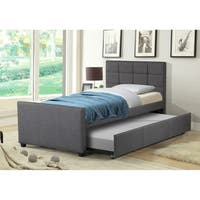 Best Quality Furniture Twin Upholstered Panel Bed with Twin Trundle Bed