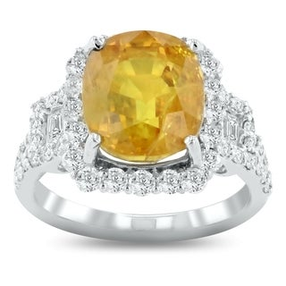 Auriya Platinum 7 3/8ct Yellow Sapphire and 1 1/5ct TDW Diamond Ring - White