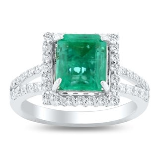 Auriya 14k White Gold 2 1/4ct Emerald and 1ct TDW Diamond Ring