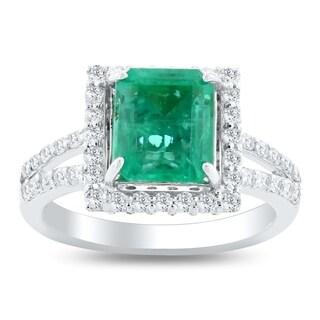 Auriya 14k White Gold 2 1/4ct Emerald and 1ct TDW Diamond Ring