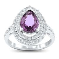 Auriya Platinum Certified 2 1/4ct Rare Unheated Natural Color Change Sapphire and 3/4ct TDW Diamond Ring - White
