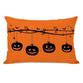 Pumpkins On a Branch - Orange Black Throw Pillow by OBC