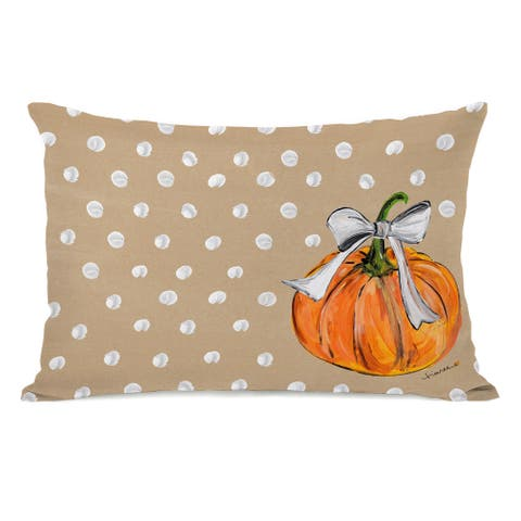 Fall Pumpkins - Tan Throw Pillow by Timree