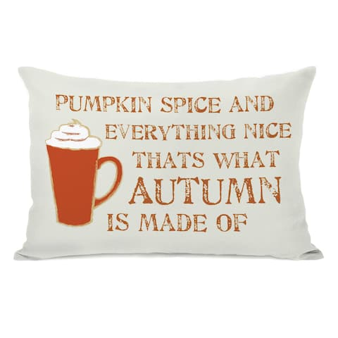 Pumpkin Spice And Everything Nice - Ivory Orange Throw Pillow by OBC