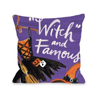 Halloween Witch and Famous - Purple 16 or 18 inch Throw Pillow by Timree