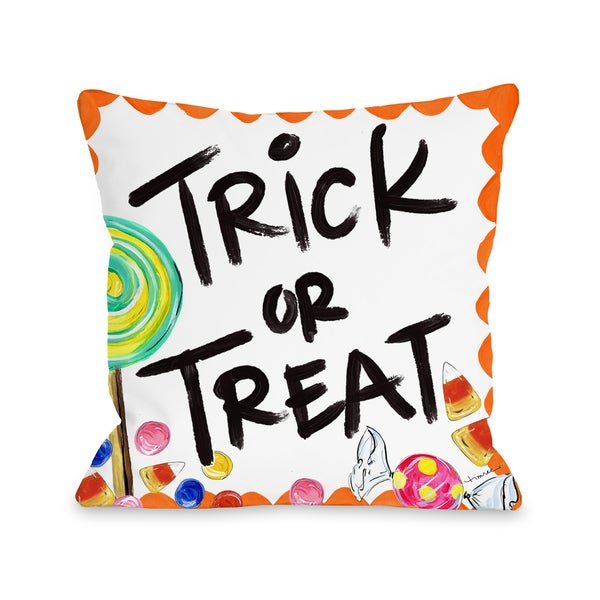 Halloween Trick or Treat Candy - White 16 or 18 inch Throw Pillow by Timree. Opens flyout.