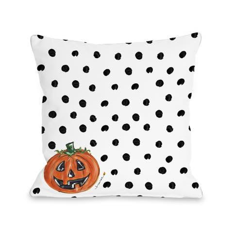 Halloween Pumpkin Dots - Orange 16 or 18 inch Throw Pillow by Timree
