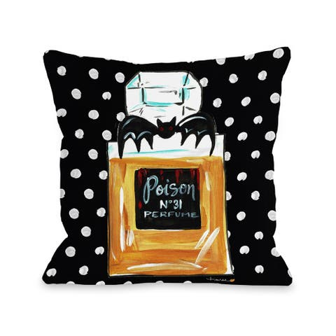 Halloween Perfume Poison - Black 16 or 18 inch Throw Pillow by Timree