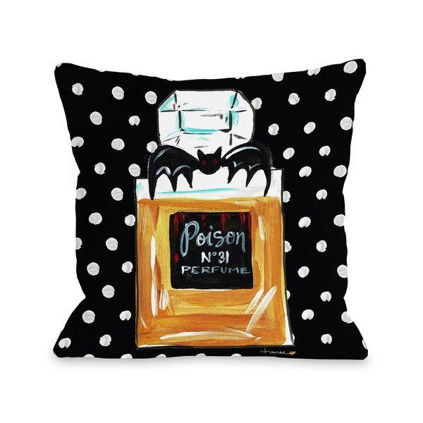 Halloween Perfume Poison - Black 16 or 18 inch Throw Pillow by Timree. Opens flyout.