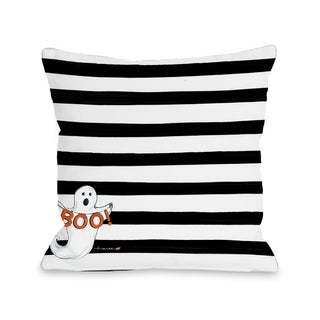 Halloween Ghost Boo - Black  16 or 18 inch Throw Pillow by Timree