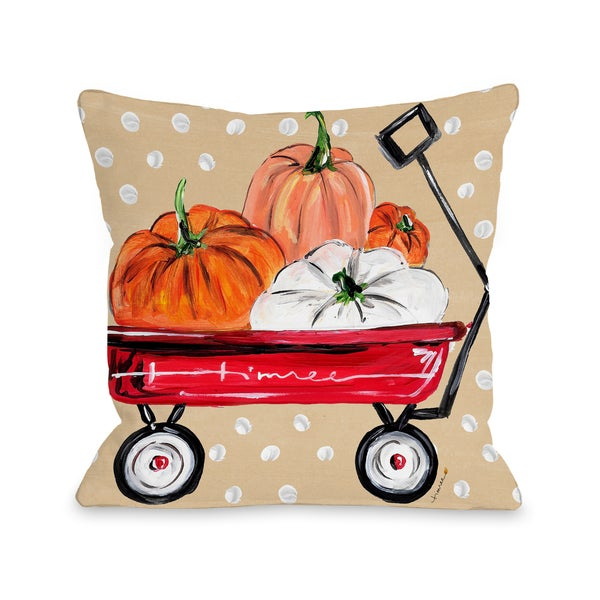 Fall Wagon - Multi 16 or 18 inch Throw Pillow by Timree