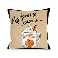 Fall Pumpkin Spice - Tan  16 or 18 inch Throw Pillow by Timree