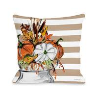 Fall Vase - Tan  16 or 18 inch Throw Pillow by Timree