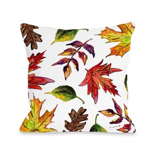 Fall Leaves - White  16 or 18 inch Throw Pillow by Timree