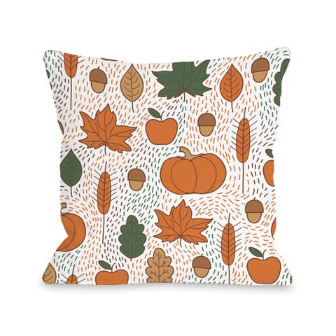 Harvest Word Collage - White Multi 16 or 18 inch Throw Pillow by OBC