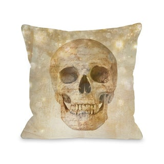 Glam Skull - Champagne  16 or 18 inch Throw Pillow by OBC