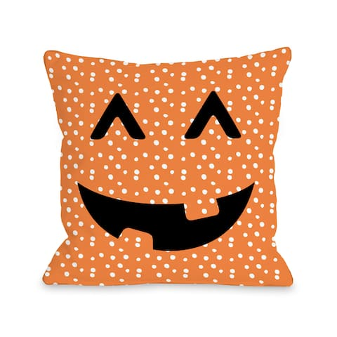 Jack O Lantern Face Dots - Orange 16 or 18 inch Throw Pillow by OBC