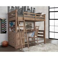Hillsdale Oxford Twin Loft With 4 Drawer Chest and Desk, Cocoa