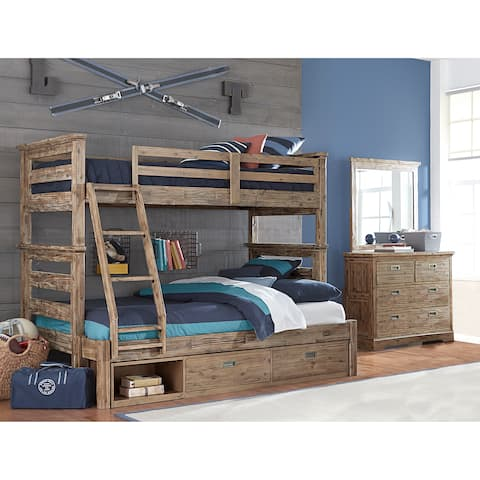 Hillsdale Oxford Oliver Twin Over Full Bunk Bed with Storage, Cocoa