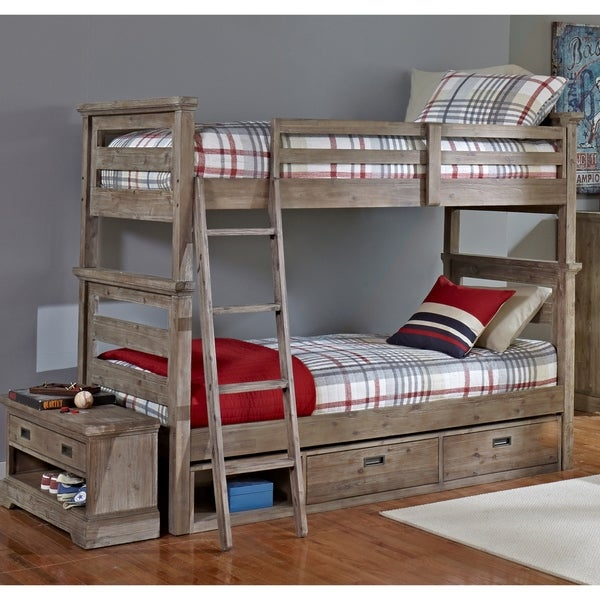 Hillsdale Oxford Oliver Twin Over Twin Bunk Bed With Storage, Cocoa