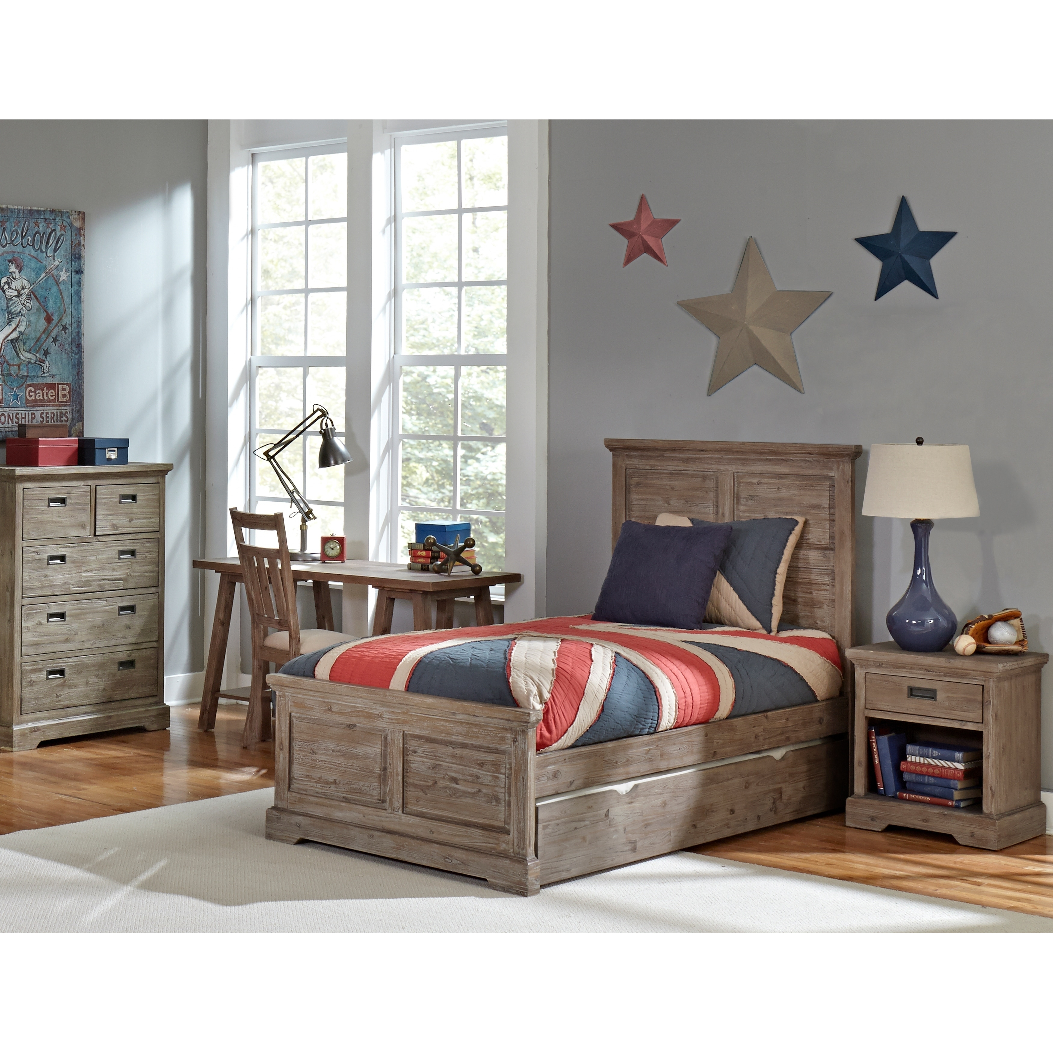 Hillsdale Oxford William Twin Panel Bed with Trundle, Cocoa