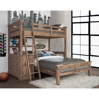 Hillsdale Oxford Twin Loft With 4 Drawer Chest and Full Lower Bed, Cocoa