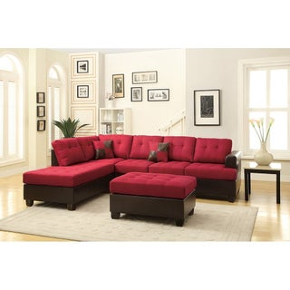 Bobkona 3-Pcs Sectional Sofa w/ Polyfiber. Matching Ottoman included.