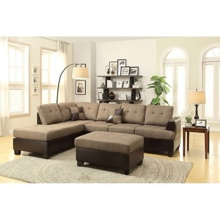 Bobkona 3 Pcs Sectional Sofa W/ Polyfiber. Matching Ottoman Included.