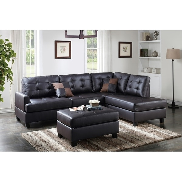 Shop Bobkona 3-PCS Reversible Sectional Sofa W/ Coctail