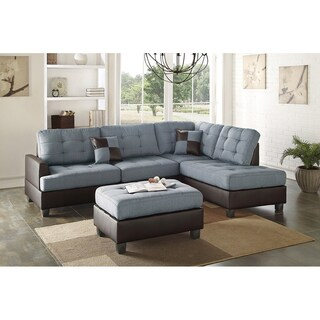 Bobkona 3-PCS Reversible Sectional Sofa w/ Coctail Ottoman (3 options available)
