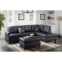 Bobkona  3-PCS Reversible Sectional Sofa w/ Coctail Ottoman