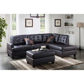 Bobkona 3 Piece Reversible Sectional Sofa W/ Cocktail Ottoman
