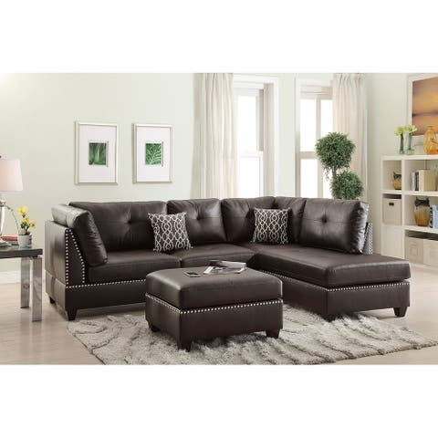 Bobkona Chaise Upholstered 3-piece Reversible Sectional Sofa w/ Cocktail Ottoman