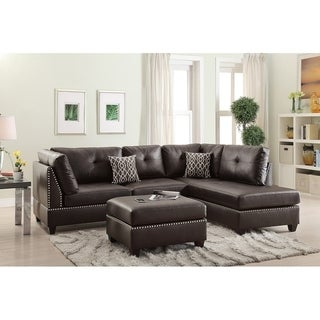 Bobkona Chaise Pine Wood 3-PCS Reversible Sectional Sofa w/ Nailheads décor and Cocktail Ottoman