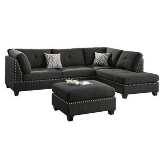 Bobkona Chaise Pine Wood 3 Pcs Reversible Sectional Sofa W Nailheads Décor And Tail