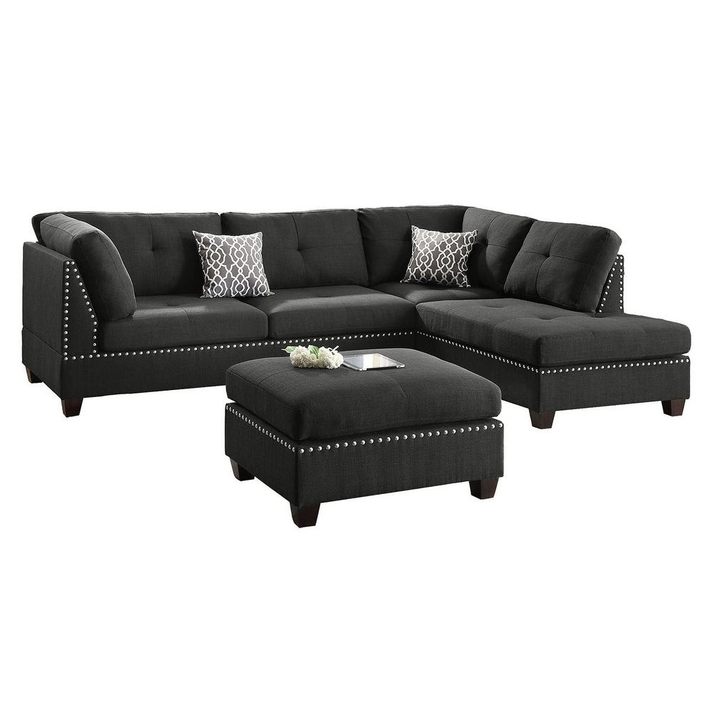 Bobkona Chaise Pine Wood 3 PCS Reversible Sectional Sofa W/ Nailheads Décor  And Coctail