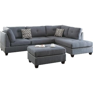 Bobkona Chaise Pine Wood 3 Pcs Reversible Sectional Sofa W Nailheads Décor And Coctail