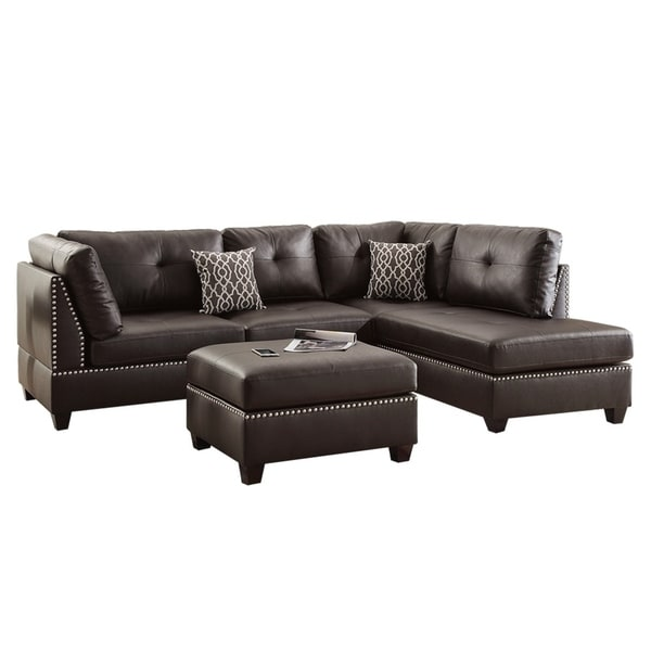 Bobkona Pinewood 3 Piece Reversible Sectional Sofa W/ Cocktail Ottoman    Free Shipping Today   Overstock.com   24157311
