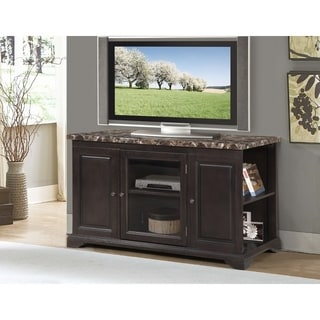 Best Quality Furniture Traditional Faux Marble Tabletop TV Stand