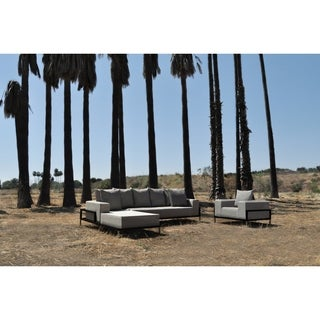 SOLIS Nubis Sectional Outdoor Deep Seated 3-piece Patio Set - Textured Black Frame, Pebble Cream Cushions