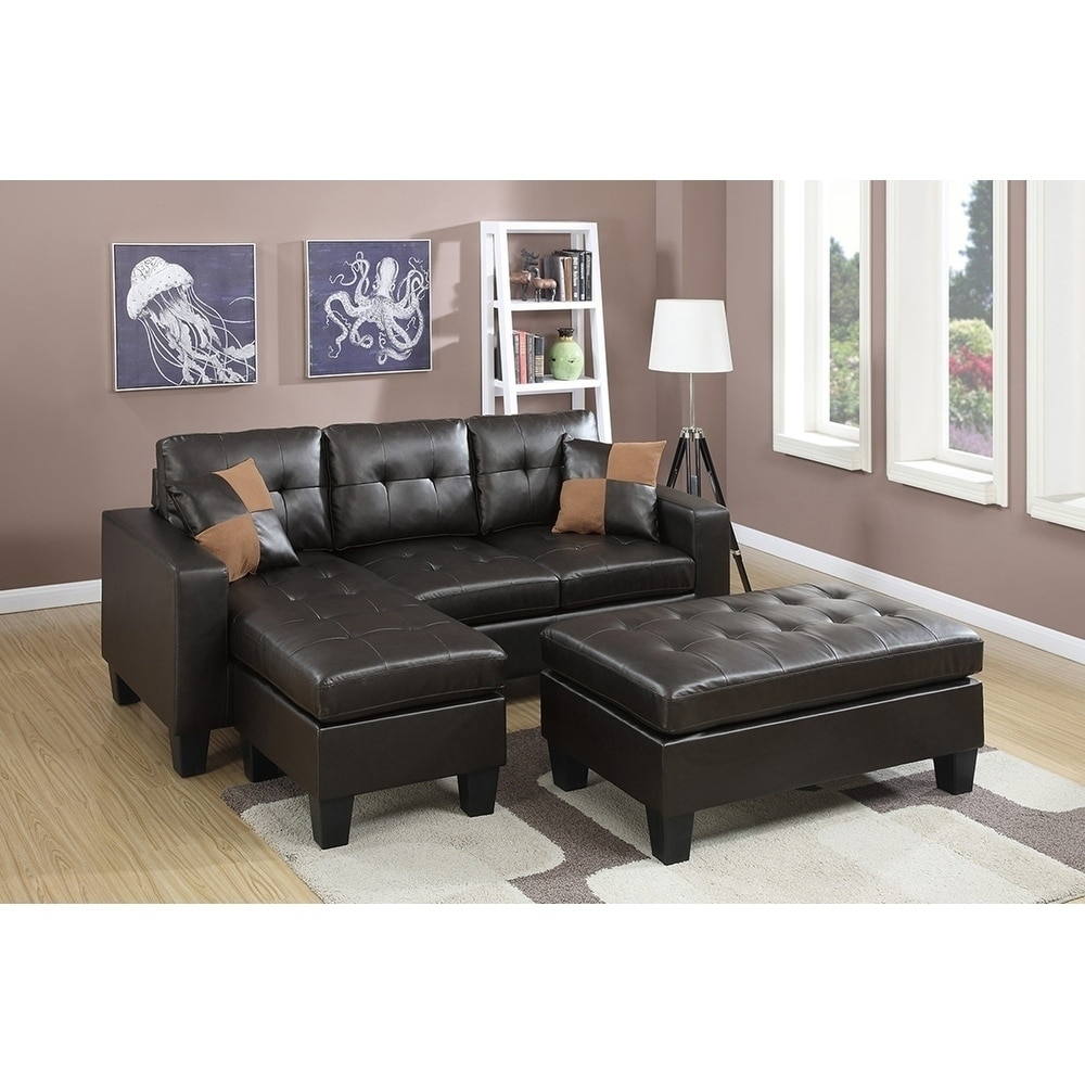 Outstanding All In One Reversible Sectional Sofa With 2 Accent Pillows And Xl Cocktail Ottmman Machost Co Dining Chair Design Ideas Machostcouk