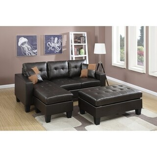 All-in-one Reversible Sectional Sofa with 2 Accent Pillows and XL-cocktail Ottoman