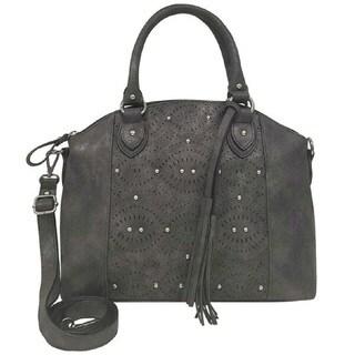 Bueno Faux Leather Lazer Cut & Stud Satchel Handbag w/ Detachable Tassel