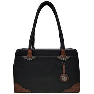 Bueno Faux Leather Two Tone Mixed Media Satchel Handbag