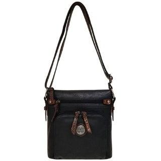 Bueno Faux Leather Two Tone Mixed Media Crossbody Handbag