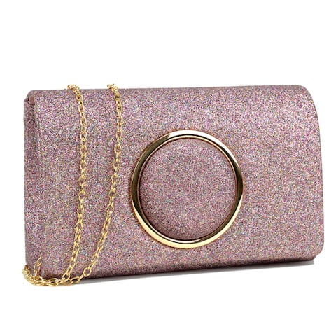 Dasein Glitter Frosted Evening Clutch with Removable Chain Strap