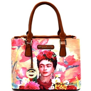 Frida Kahlo with Parrot in Flowers 3 compartment Satchel Handbag